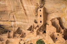 Ruins Of An Ancestral Puebloan Cliff Dwelling At Mesa Verde National Park.