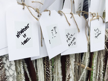 Row Of Positive Notes Hanging On Line.