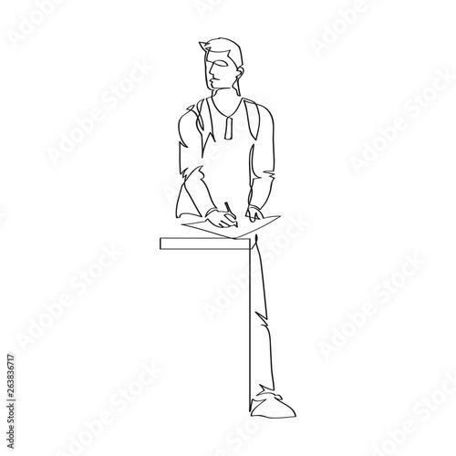 Fototapeta Rysujący mężczyzna. Rysunek jedną linią wektor obraz