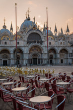 St. Mark's Square. Saint Mark's Basilica.  Sunrise In Venice.  Italy