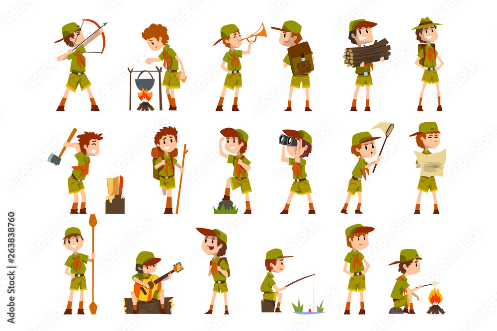 Fototapety, obrazy: Scouting boys set, boy scouts with hiking equipment, summer camp activities vector Illustrations on a white background
