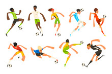 Soccer Player Set, Football Athletes Playing, Kicking, Training And Practicing Vector Illustrations On A White Background