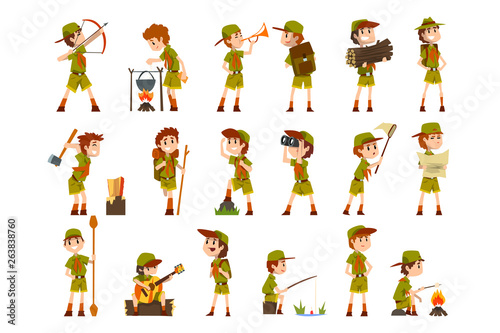 Scouting boys set, boy scouts with hiking equipment, summer camp activities vect Canvas Print
