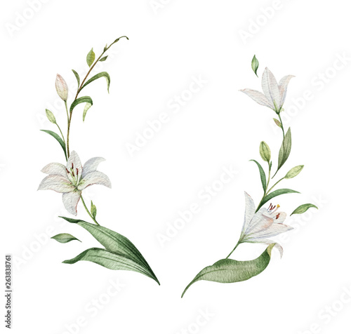 Fotografia Watercolor vector wreath of Lily flowers and green leaves.