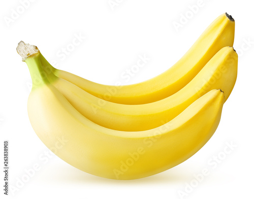 Fotografie, Obraz  three ripe banana isolated on white background with clipping path