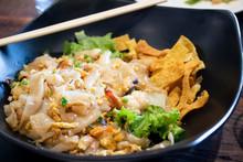 Close Up Stir Fried Fresh Rice Fat Noodles