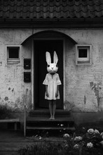 Frightening Woman In Bunny Mask