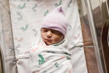 Newborn Baby Sleeping In The Hospital Bassinet