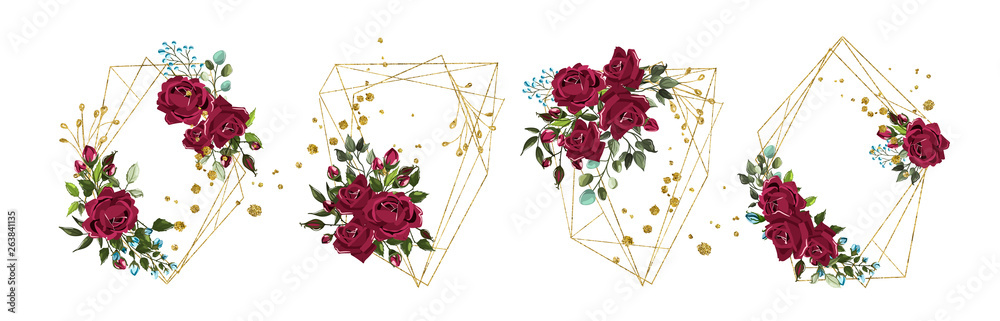 Fototapety, obrazy: Wedding floral golden geometric triangular frame with bordo flowers roses