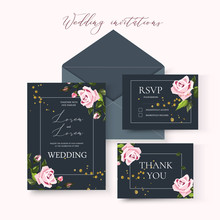 Wedding Floral Invitation Card Save The Date Design With Pale Pink Flowers Roses