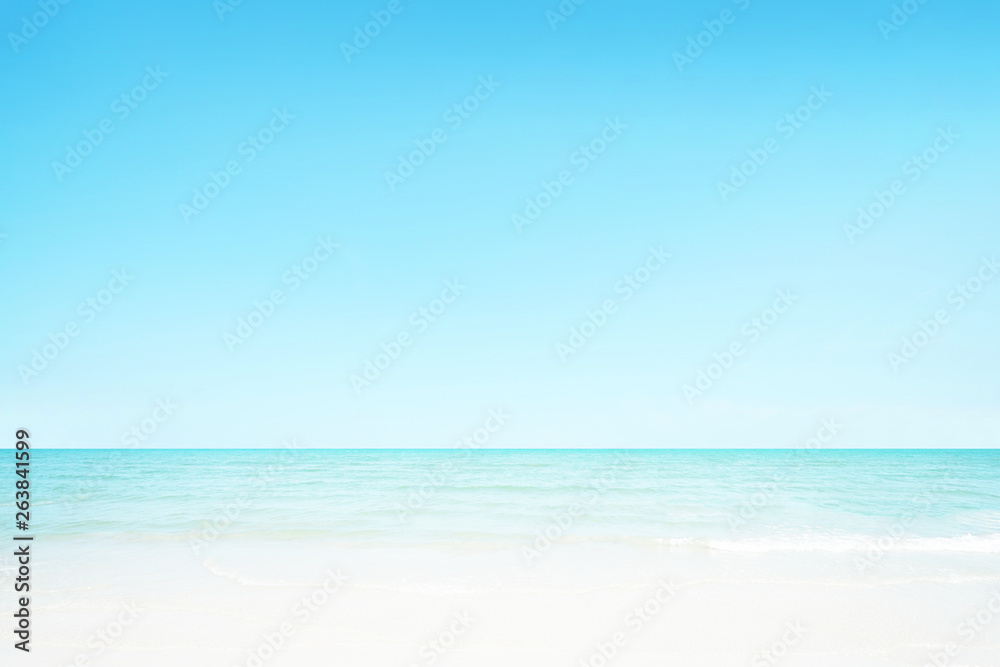 Fototapety, obrazy: The blur cool sea background on horizon tropical sandy beach; relaxing outdoors vacation with heavenly mind view at a resort.