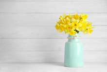 Bouquet Of Daffodils In Vase O...
