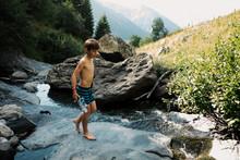Little Boy Ready To Swim In A ...