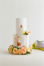 Contemporary Painted Wedding Cake