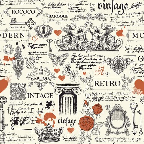 Tapety Vintage  wektor-wzor-recznie-rysowane-tla-na-temat-zabytkowych-obiektow-sztuki-mebli-i-antykow-w-stylu-retro-tapeta-papier-pakowy-tekstylia-tkanina-lub-tlo-na-ubrania