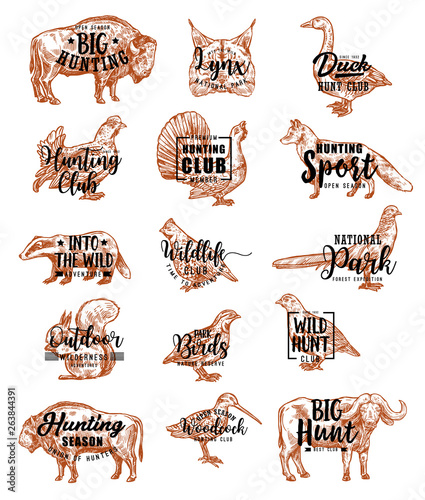 Fotografia, Obraz Hunt open season animals and birds lettering icons