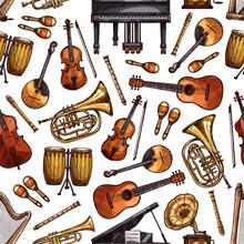 Folk Music Instruments Sketch Seamless Pattern