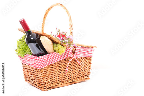 Poster Picnic picninc basket with wine, cheese and fruit