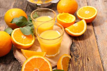 orange juice and leaf