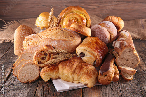 Fotobehang Bakkerij bread and pastry assortment