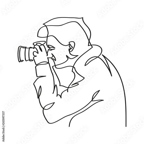 Fototapeta Mężczyzna robiący zdjęcie. Rysunek jedną linią wektor obraz