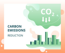 Carbon Dioxide Emissions Reduction In The City.  Vector Concept Of Ecology Problem, Generation And Saving Green Energy.