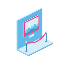Picture Image Museum Exhibit Exposure 3d Vector Icon Isometric Pink And Blue Color Minimalism Illustrate
