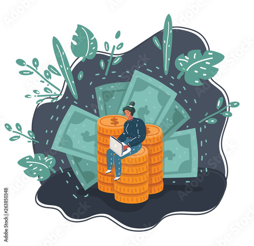 Fototapeta Vector cartoon business concept woman with big coin stack and speech bubble for design. obraz