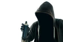 Hooded Graffiti Artist With Spray Paint Can