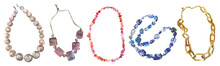 Watercolor Chain And Beads, Set Of Beautiful Jewelry, For An Elegant Image, Isolated On White Background.