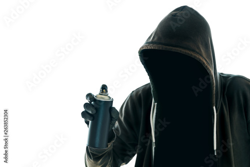 Hooded graffiti artist with spray paint can Canvas Print