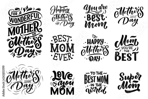Set of Mother's day lettering for Gift card Canvas Print