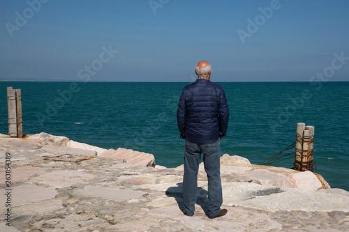 uomo che guarda il mare Canvas Print