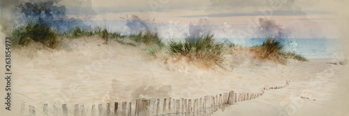 Watercolor painting of Panorama landscape of sand dunes system on beach at sunrise
