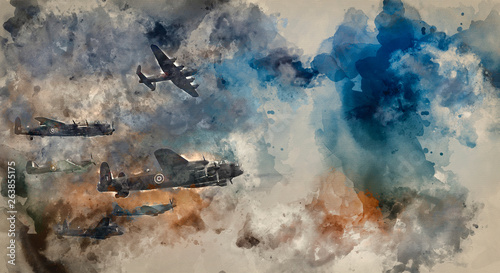 Photo Watercolor painting of World War Two British vintage flight formation