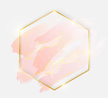 Gold Shiny Glowing Hexagon Fra...
