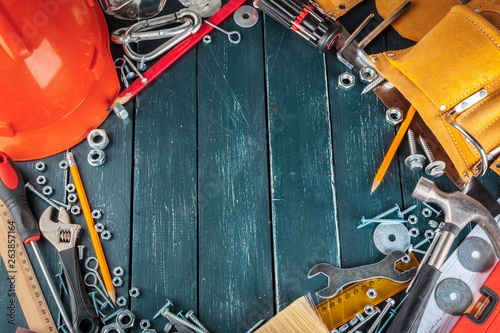Foto op Aluminium different construction tools on blue background