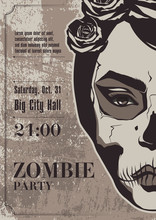 Halloween Party Background With Zombie Girl