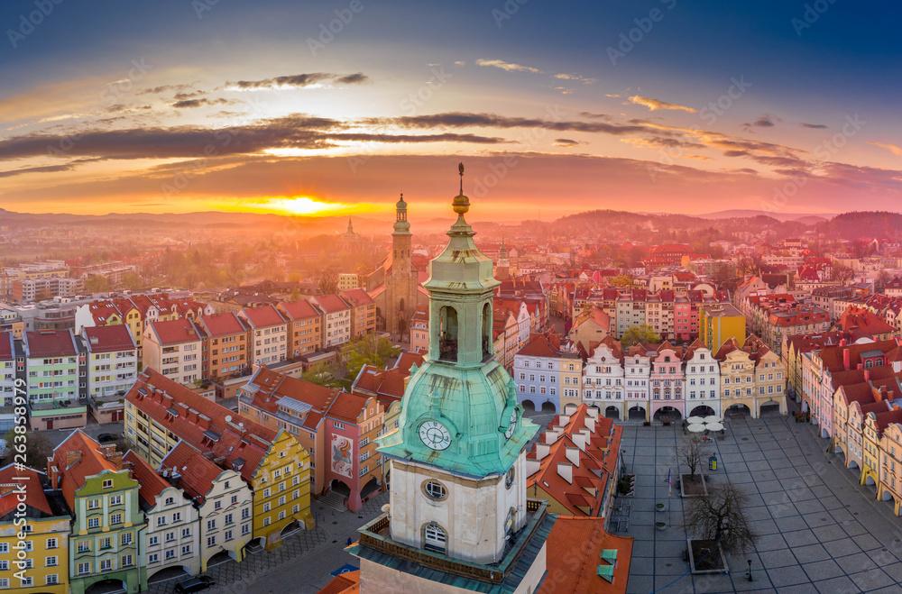 Fototapety, obrazy: Marketplace in Jelenia Góra aerial view
