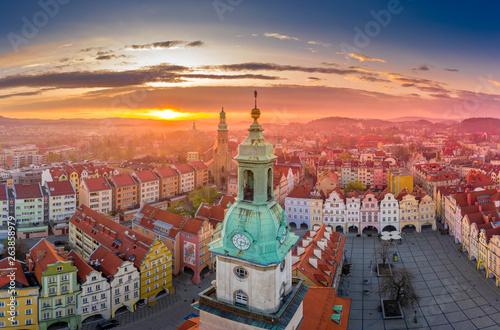 Fototapeta Marketplace in Jelenia Góra aerial view obraz