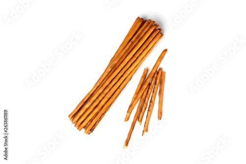 Cracker pretzel sticks isolated on white background. Fototapete