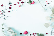 Autumn Creative, Modern Composition. Frame Made Of Berries, Eucalyptus Leaf, Dry Roses, Petals On White Background. Autumn, Fall Elegant Concept. Flat Lay, Top View, Copy Space