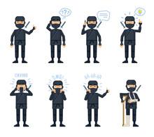 Set Of Ninja Characters Posing...