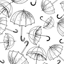 Umbrellas Seamless Sketch Patt...