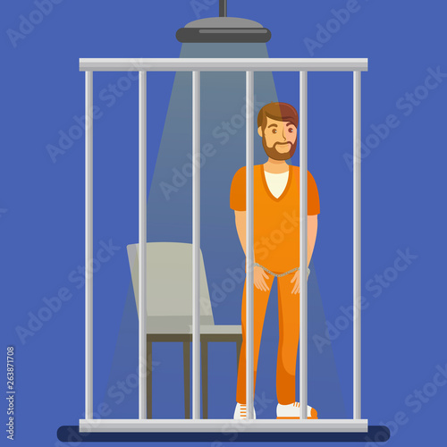 Photo Prisoner behind Metal Bars Vector Illustration