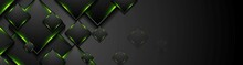 Black Tech Squares With Green Glowing Neon Light Banner