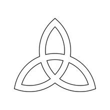 Triquetra Sign Icon. Leaf-like Celtic Symbol. Trinity Or Trefoil Knot. Simple Black Outline Vector Illustration