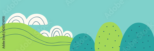 Summer landscape vector illustration in doodle style. Trees, sky and clouds hand drawn background for banner
