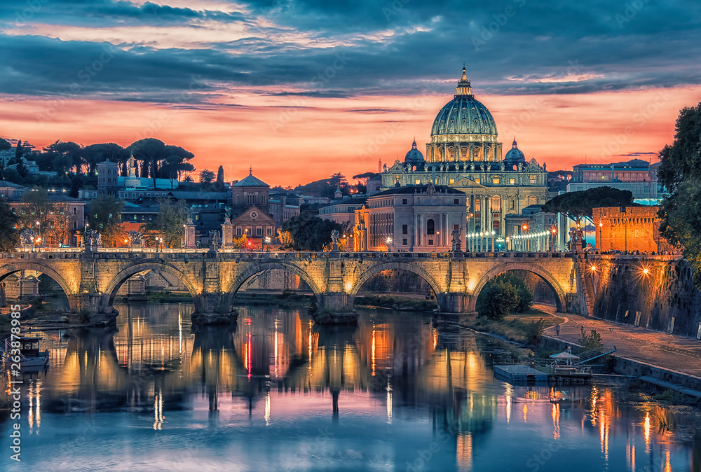 Fototapety, obrazy: City of Rome at sunset with the view on the Vatican