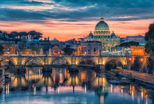 City of Rome at sunset with the view on the Vatican